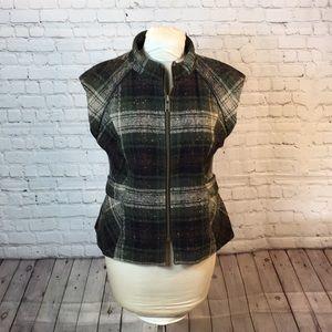 CAbi green plaid sleeveless wool-blend vest